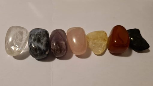 Crystal tumblestones in a line