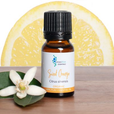 Sweet Orange Essential Oil with orange slice sun