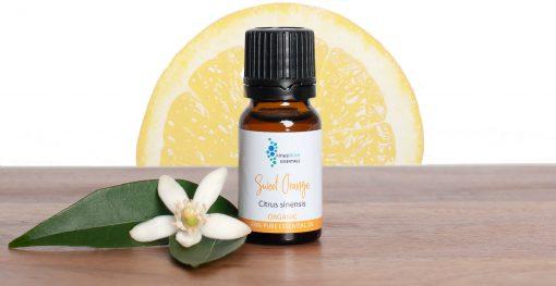 Sweet Orange Essential Oil with orange slice sun